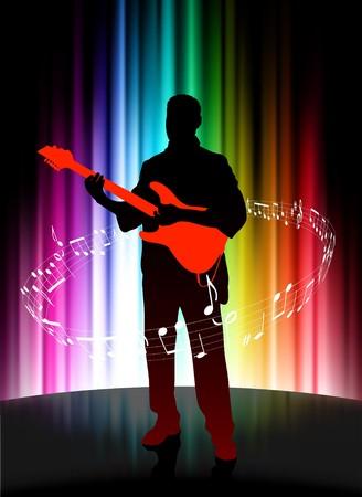 Live Musician on Abstract Spectrum Background Original Illustration