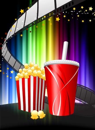Popcorn and Soda on Abstract Spectrum Background Original Illustration illustration