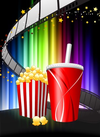movie film: Popcorn and Soda on Abstract Spectrum Background Original Illustration Stock Photo