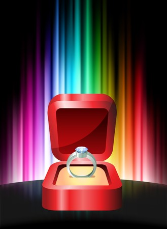 Diamond Ring on Abstract Spectrum Background Original Illustration Stock Photo