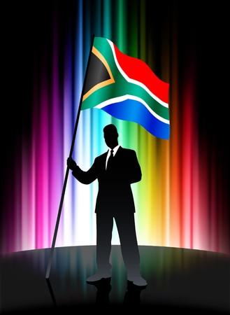 South Africa Flag with Businessman on Abstract Spectrum Background