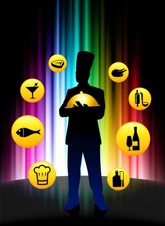 prepare: Chef with Buttons on Abstract Spectrum Background Original Illustration