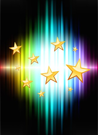 Stars on Abstract Spectrum Background Original Illustration Stock Illustration - 7569257