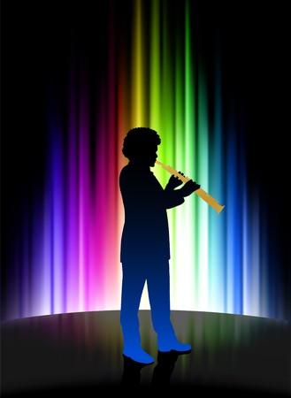 Live Musician on Abstract Spectrum Background Original Illustration illustration