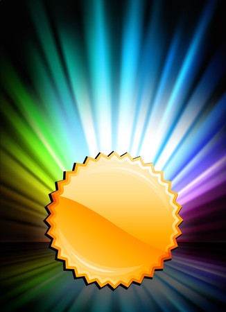 Gold Medal Icon Button on Abstract Spectrum Background Original Illustration
