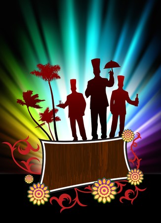 Chefs on Abstract Tropical Frame Background with Spectrum Original Illustration illustration