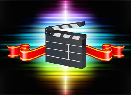 Clapper on Abstract Spectrum Background Original Illustration illustration