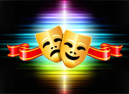 theatre symbol: Comedy and Tragedy Masks on Abstract Spectrum Background Original Illustration