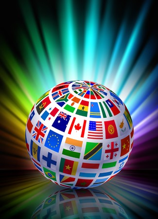 Globe on Abstract Spectrum BackgroundOriginal Illustration Standard-Bild
