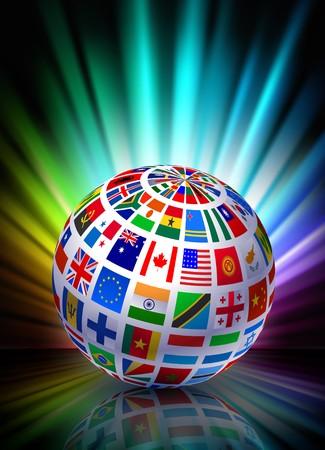 Wereld bol op abstract spectrum achtergrond Originele illustratie  Stockfoto