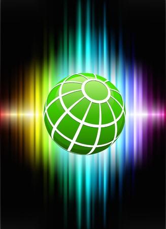 Globe on Abstract Spectrum BackgroundOriginal Illustration Stock Illustration - 7569279