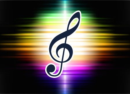 Musical Note on Abstract Spectrum Background  Original Illustration