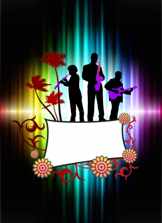 Live Music Band on Abstract Tropical Frame with Spectrum Original Illustration Stock Illustration - 7569343