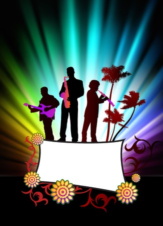 Live Music Band on Abstract Tropical Frame with Spectrum  Original Illustration illustration