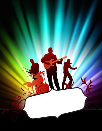 Live muziek band op abstract tropische frame met spectrum originele illustratie