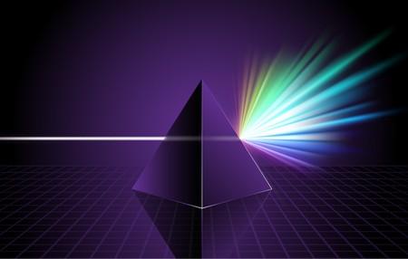 Pyramid on Colorful Spectrum Background Original Illustration