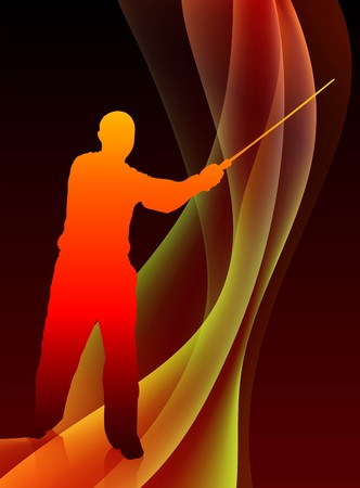stab: Karate Sensei with Sword on Abstract Blaze Wave Background Original Illustration