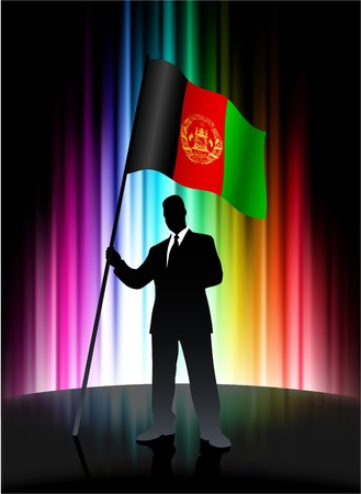 Afghanistan Flag with Businessman on Abstract Spectrum Background Original Illustration illustration