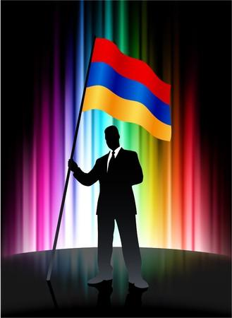 Armenia Flag with Businessman on Abstract Spectrum BackgroundOriginal Illustration Stock Illustration - 7666928