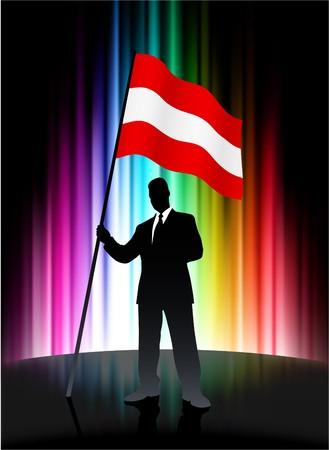 Austria Flag with Businessman on Abstract Spectrum Background Original Illustration