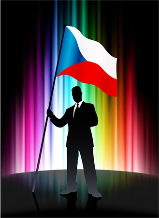 Czech Flag with Businessman on Abstract Spectrum Background
