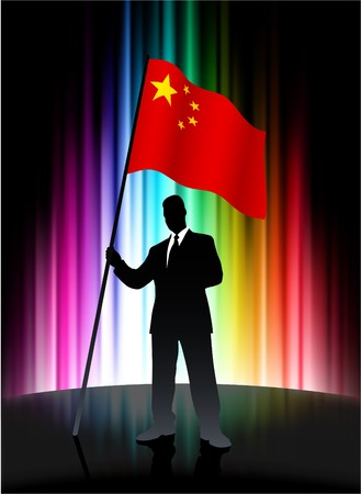 China Flag with Businessman on Abstract Spectrum Background Original Illustration Stock Photo