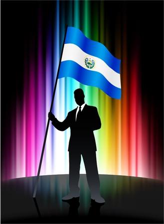 bandera de el salvador: Bandera del Salvador con el empresario en abstracto Spectrum de fondo Ilustraci�n original  Foto de archivo