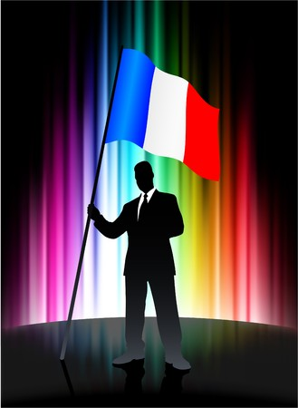 french flag: France Flag with Businessman on Abstract Spectrum Background Original Illustration