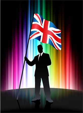 Great Britain Flag with Businessman on Abstract Spectrum Background