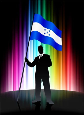 honduras: Honduras Flag with Businessman on Abstract Spectrum Background Original Illustration Stock Photo