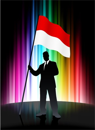 Indonesia Flag with Businessman on Abstract Spectrum Background Original Illustration illustration
