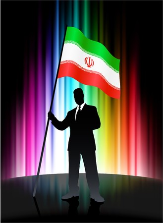Iran Flag with Businessman on Abstract Spectrum BackgroundOriginal Illustration Stock Illustration - 7666972