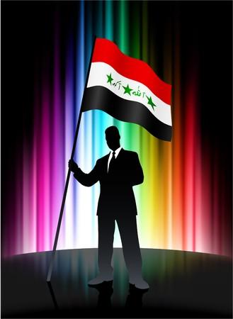 Iraq Flag with Businessman on Abstract Spectrum Background Original Illustration