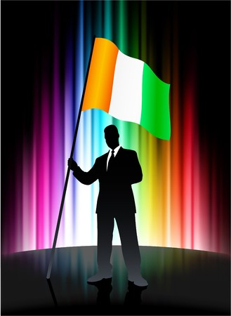ireland flag: Ireland Flag with Businessman on Abstract Spectrum Background Original Illustration Stock Photo
