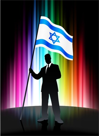Israel Flag with Businessman on Abstract Spectrum Background Original Illustration Stock Photo