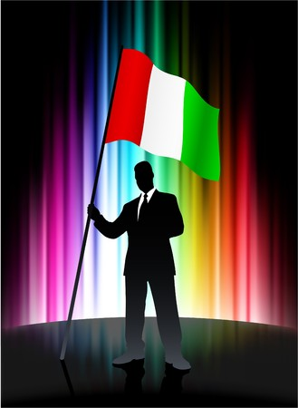 Italy Flag with Businessman on Abstract Spectrum BackgroundOriginal Illustration Stock Illustration - 7666898