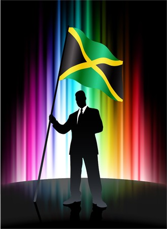 Jamaica Flag with Businessman on Abstract Spectrum Background Original Illustration illustration