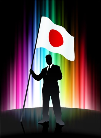 Japan Flag with Businessman on Abstract Spectrum Background Original Illustration