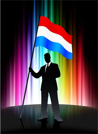 Luxembourg Flag with Businessman on Abstract Spectrum Background
