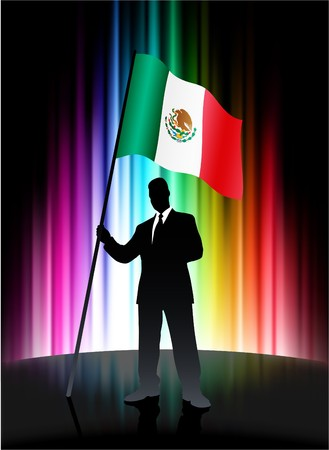 Mexico Flag with Businessman on Abstract Spectrum Background Original Illustration illustration