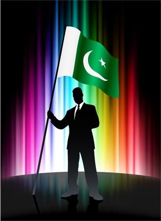 Pakistan Flag with Businessman on Abstract Spectrum Background Original Illustration