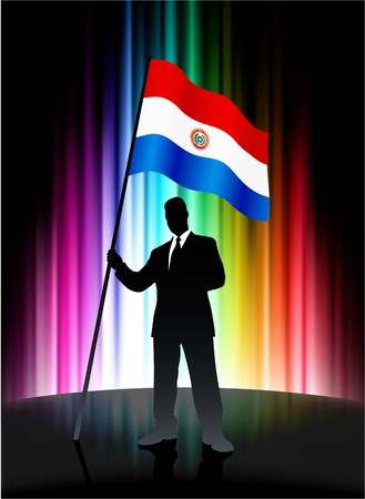 Paraguay Flag with Businessman on Abstract Spectrum Background