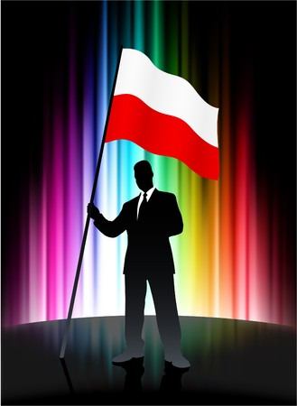Poland Flag with Businessman on Abstract Spectrum Background Original Illustration