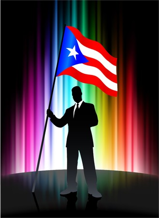 rican: Puerto Rico Flag with Businessman on Abstract Spectrum Background Original Illustration