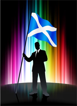Scotland Flag with Businessman on Abstract Spectrum Background Original Illustration