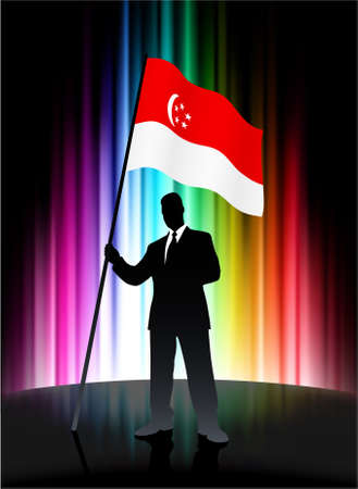 Singapore Flag with Businessman on Abstract Spectrum Background Original Illustration