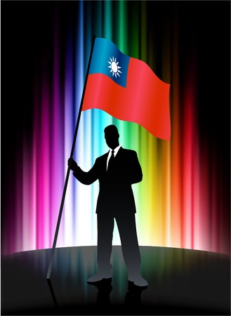 Taiwan Flag with Businessman on Abstract Spectrum Background Original Illustration