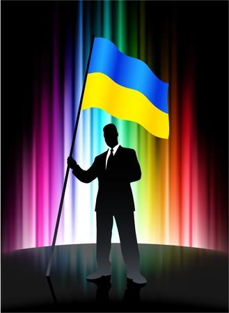 Ukraine Flag with Businessman on Abstract Spectrum Background Original Illustration Stock Photo