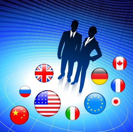 Business Couple on internet flag buttons background Vector