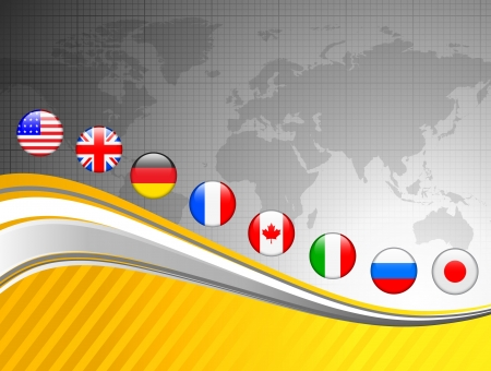 World Map with Internet Flag Buttons Background Vector